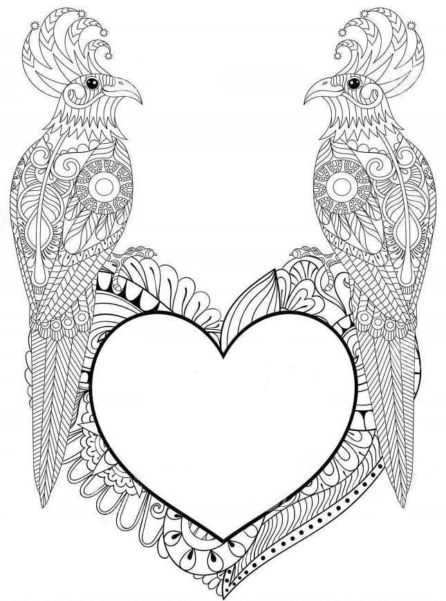 mandala 119 corazon y pajaros
