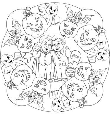 mandala 189 halloween 2 vampiros murcielagos calabazas y ninos