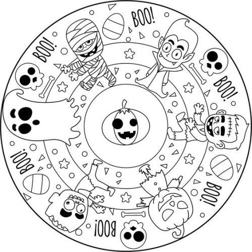 mandala 197 halloween 10 calabaza vampiro fantasma zombie momia