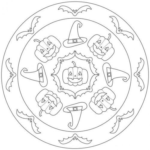 mandala 198 halloween 11 calabazas y murcielagos
