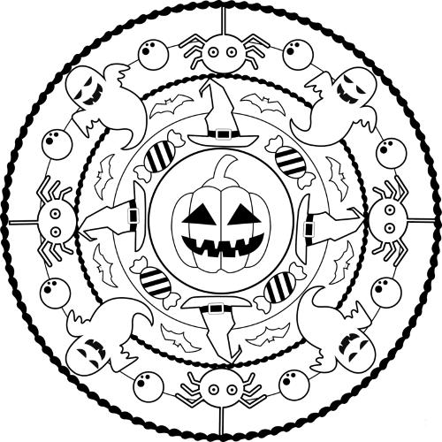 mandala 207 halloween 21 calabaza caramelos fantasmas y aranas