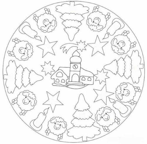 mandala 244 navidad e invierno ovejas