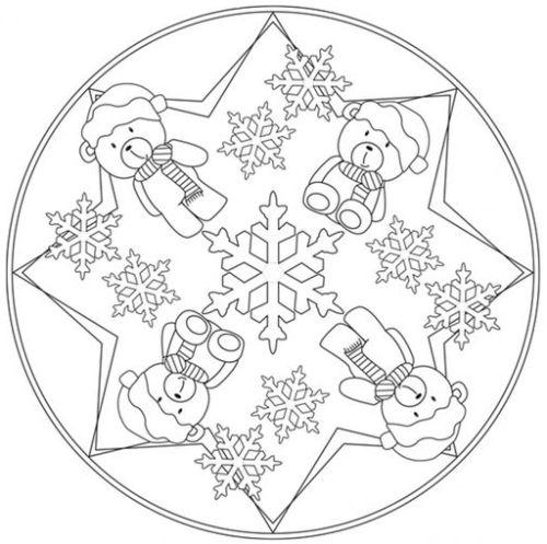 mandala 251 nieve y ositos de peluche