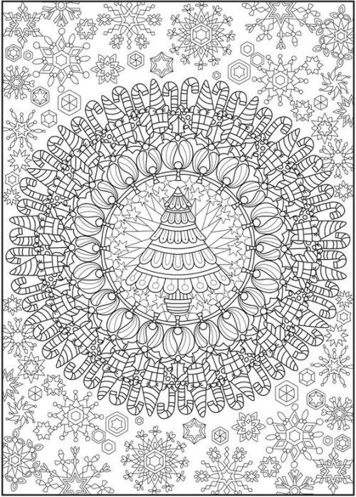 mandala 274 arbol y motivos navidenos
