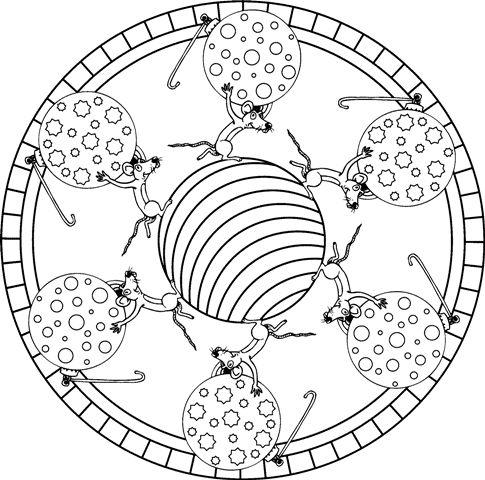 mandala 278 ratones con bolas de navidad
