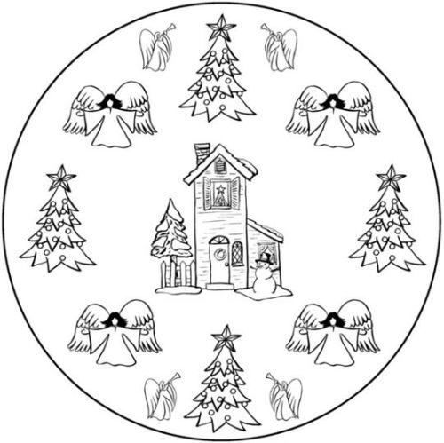 mandala 280 casa arboles navidad y angeles