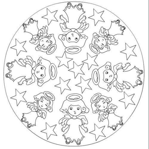 mandala 303 angelitos y estrellas