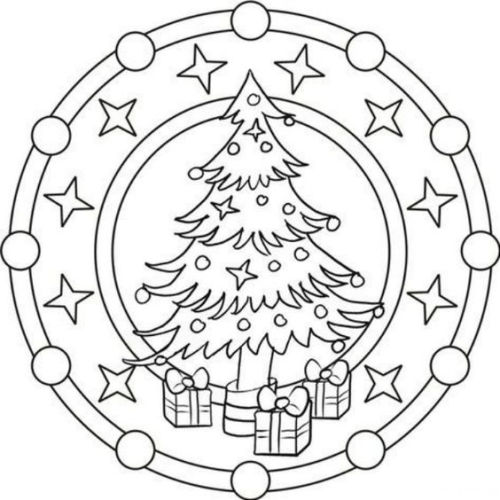 mandala 310 arbol de navidad y regalos