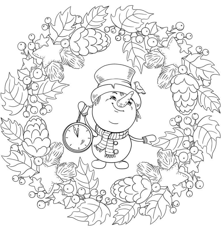 mandala 319 muneco de nieve con reloj