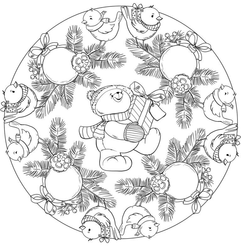 mandala 320 osito con regalo bolas de navidad y pajaros