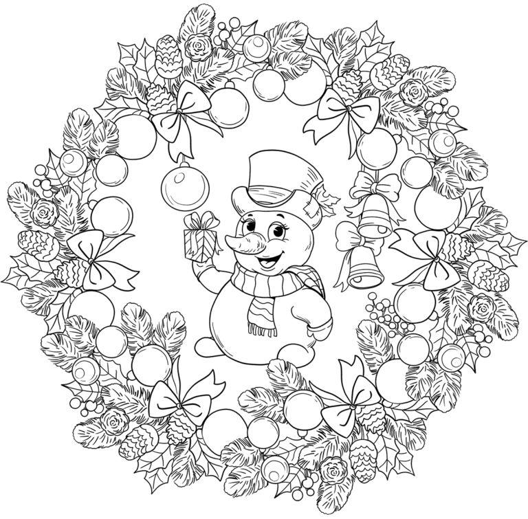 mandala 327 muneco de nieve y bolas de navidad