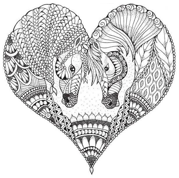 mandala 33 corazon con caballos