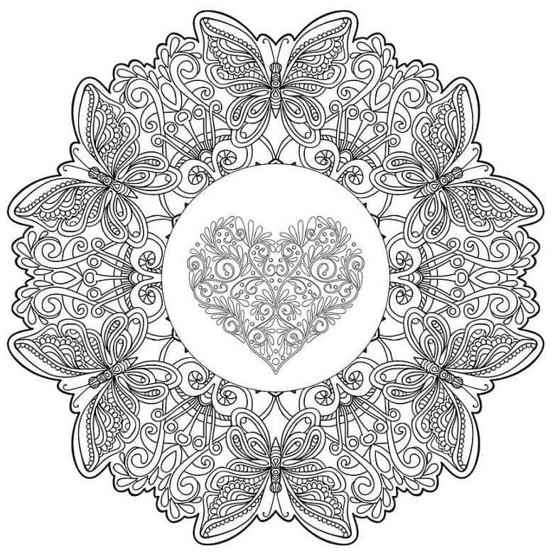 mandala 40 corazon y mariposas