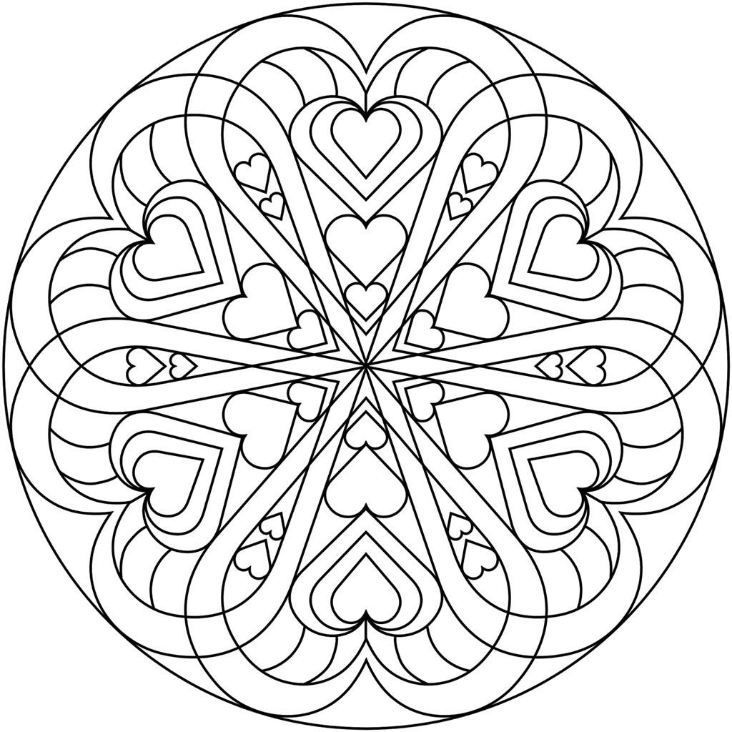 mandala 5 circulo de corazones