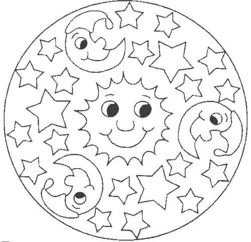 mandala 69 sol luna y estrellas